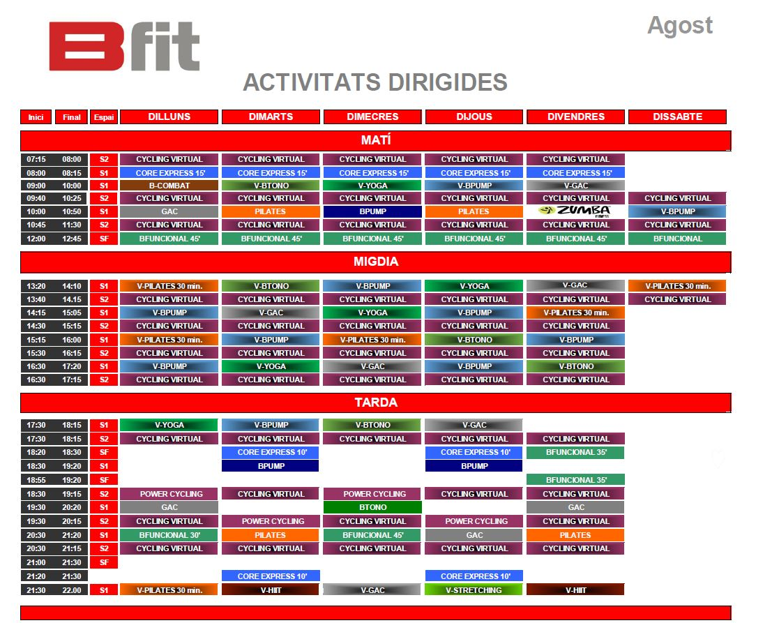horari agost gimnas